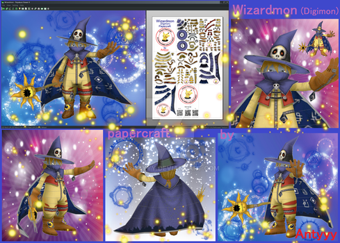 Wizardmon Digimon papercraft by Antyyy