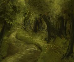 Speed painting - Forest stream by fluffycactus123