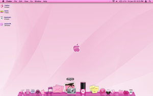 Pink Mac Logo desktop screen by tunerbarbie
