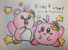 Kirby and Loopy by dengekipororo