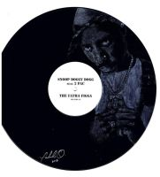 Hand painted portrait of Tupac Shakur on LP by CyclopticSpider