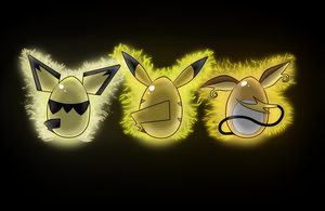 Pikachu Evo. Eggs Wallpaper by DarthSuki