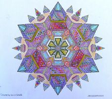 handcoloured Jim's traditional mandala 51 by Lou-in-Canada