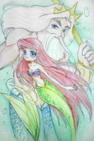 Ariel and King Triton by Charming-Manatee