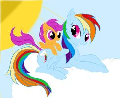 Scootaloo and Rainbow Dash by serpifeulover