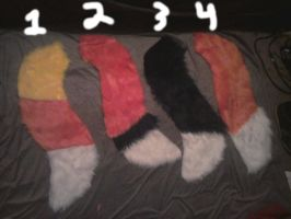 fox, wolf, and candycorn tails for sale by HVC333