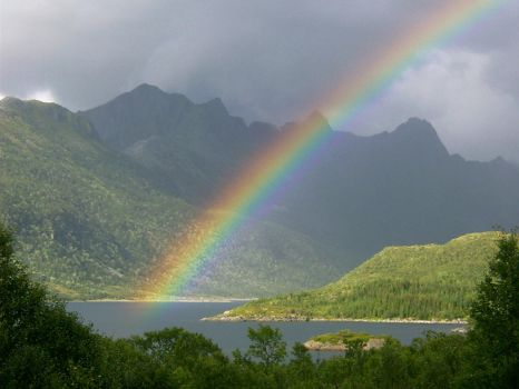 Rainbow over a fjord by IGhengisKhanI