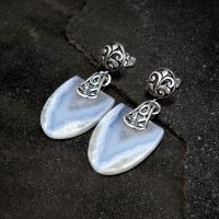 Blue Lace Agate Earrings by Gweyeni