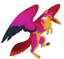 Dhole x Rufous-Backed Kingfisher Gryphon by Kingfisher-Gryphon