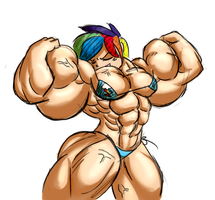 Bodybuilder Rainbow Dash by Ritualist