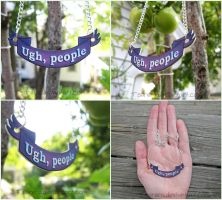 Ugh, People - Text Banner Necklace by Tsurera