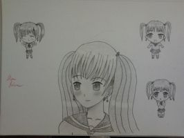 Schoolgirl with chibis by alan1230