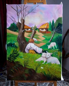 Commission of Surreal Painting of Oleg Shuplyak by Andi-Montes