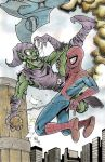Green Goblin vs Spiderman commission by Frisbeegod