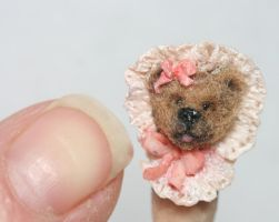 Teddy Bear Polymer Clay Sculpted Miniature by kimbearlys