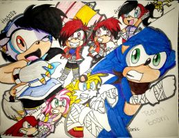 SONIC BOOM: TEAM F.U.N  V.S TEAM SONIC (COLORED) by deykilledkenny