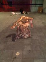 Anamorphic Chalk Painting for Halloween Party by EchoDesignGarden