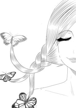 Girl With Butterflies by RockBunting