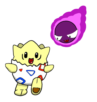 Togepi And Ghastly Freshly Hatched! by Piksel-Art