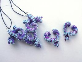 Purple Octopus necklace and earring set fake gauge by cashewed-almonds
