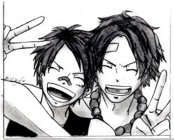 Luffy and Ace (One Piece) by 00ookrrishoo00