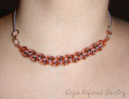 Chainmail Copper and Silver Choker Necklace by Toxic-Muffins-Studio