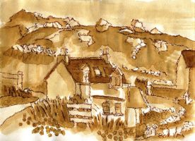 coffee painting wee cottage oldshoremore by merearthling