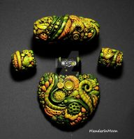 Enchanted Garden Pendant and Bead set by MandarinMoon