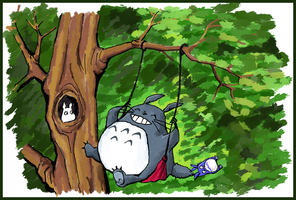 Totoro swinging by krysyonysh