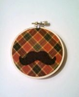 Autumn Plaid Mustache Embroidery Hoop by msmegas