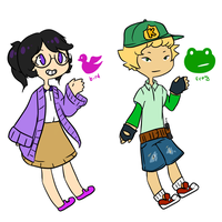 Human adopts (FROG open) by Luminariee