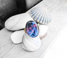 Handmade Resin Blue and Pink Nebula Bronze Ring by crystaland
