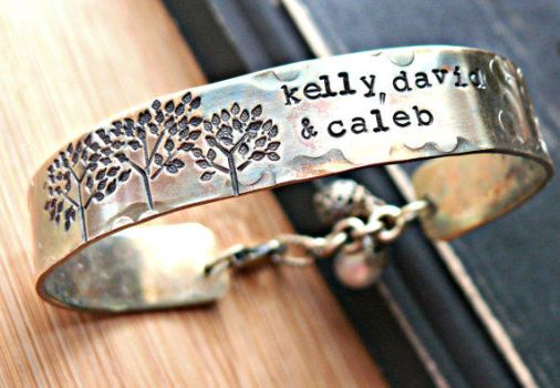 family trees hand stamped bracelet by yourcharmedlife
