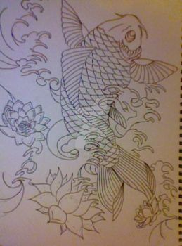Koi Fish Wave with Lotus' by LAYZJAY