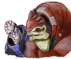 Wrex and Garrus sketch by gurgledog
