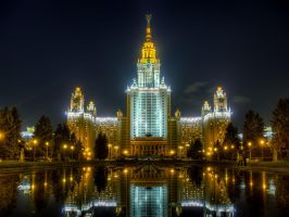 Lomonosov Moscow State University (MSU) at night by ChaoticMind75