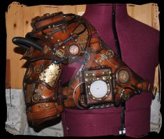 steampunk leather pauldron and harness by Lagueuse