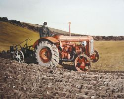 Grandfather Dan on his Fordson by eastcorkpainter