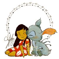 Lilo and Stitch (And a smooch, oh my) by Vilva