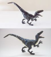 Jurassic World Velociraptor Blue before and after by Jedd-the-Jedi