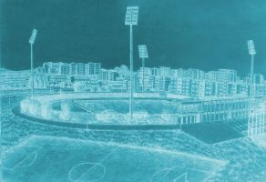 Drawing - Panorama Of The City Stadium (06) by eduaarti