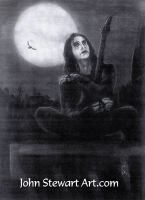 Brandon Lee as The Crow Charcoal for sale by johnstewartart