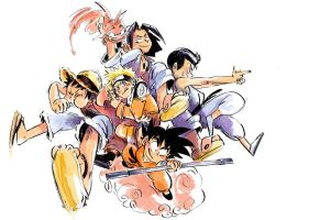 childhood heroes from shonen jump by nounouille