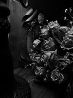 bouquet of  dried roses - black and white by TaitRochelle