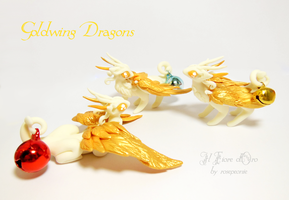Goldwing dragons (second nest) by rosepeonie