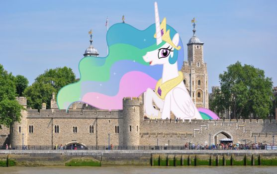 Princess Celestia sitting in Tower of London by TheOtterPony