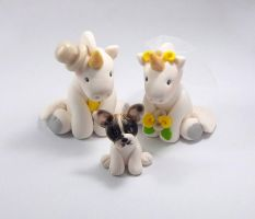 Unicorns and French Bulldog Wedding Cake Topper by HeartshapedCreations