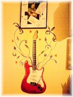 Guitar Wall Painting by lilie1111