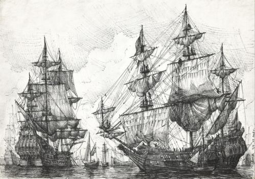 Dutch ships at anchor by JanBoruta