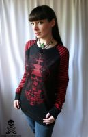 demon skull stripe d-ring top by smarmy-clothes